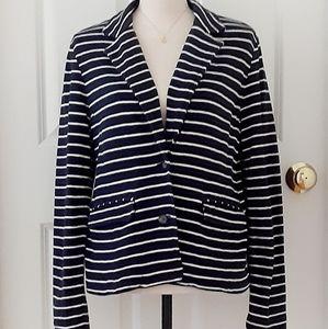 Jackets & Blazers - 💼HP!💼 Navy Striped Nautical Cotton Jersey Blazer